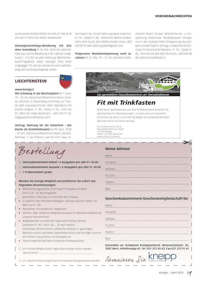 Online magazin nr 2 2015 schweizer kneippverband Internet magasin